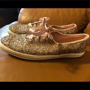 kate spade Shoes - Kate Spade rose gold glitter Keds